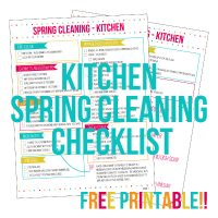 Get your Spring Cleaning started with the Kitchen spring cleaning checklist. Deep clean and organize your kitchen to get ready for spring with a 2 page spring cleaning printable plus homemade cleaning product formulas!