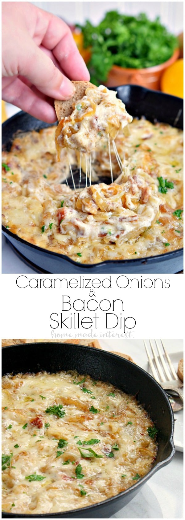 This Caramelized Onion and Bacon Skillet Dip is made with sweet onions, smokey bacon, and lots and lots of cheese! This easy homemade hot dip recipe is made with caramelized onions and baked until perfectly cheesy and gooey. Make this as an appetizer for Christmas or New Year's Eve, or make it for your next game day party, or Super Bowl party! #dip #caramelizedonions #hotdip #footballfood #partyfood #cheese #bacon #homemadeinterest