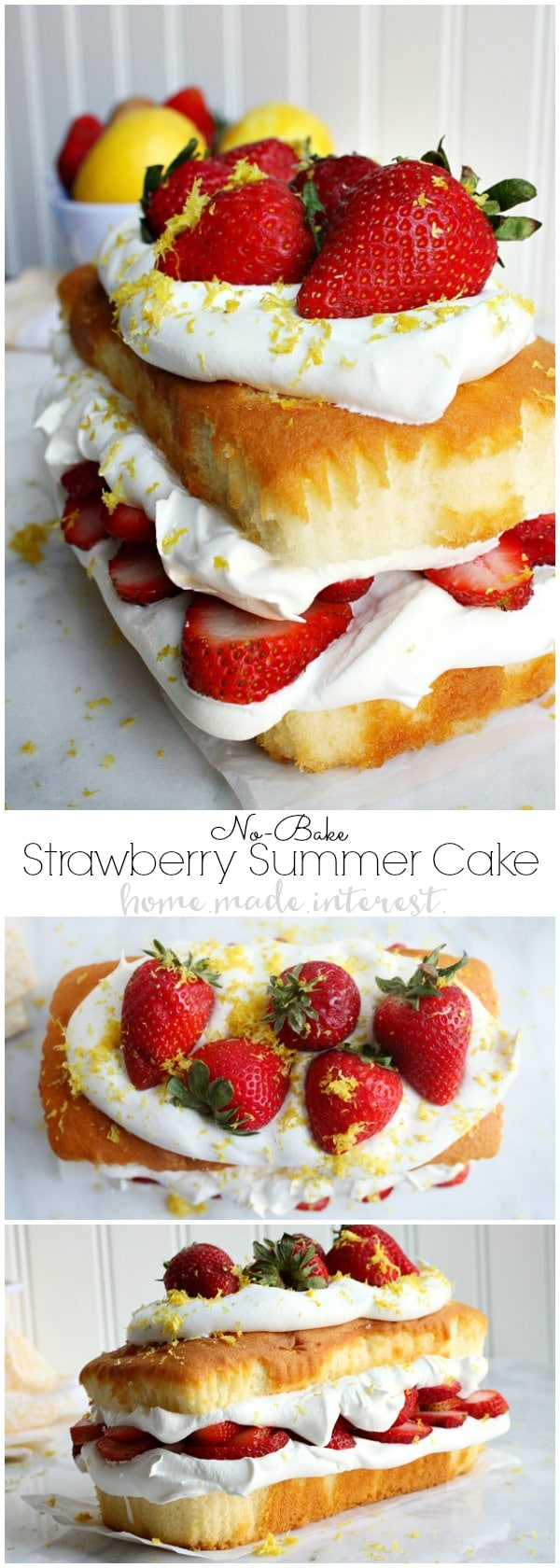 This light and fluffy no bake cake recipe is filled with the flavors of summer. A three layer pound cake stuffed with fluffy whipped topping, sweet strawberries, and topped with a sprinkle of lemon zest. This no bake strawberry shortcake is great for parties because you can make it in just a few minutes without ever turning on your oven.
