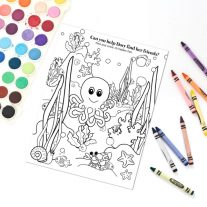 You can download this free Underwater Kid activity page and keep your kids entertained while you get lunch or dinner ready. This simple ocean kid coloring page is a great summer activity and it is perfect for road trips with the kids especially if they love Disney Pixar's Finding Dory!