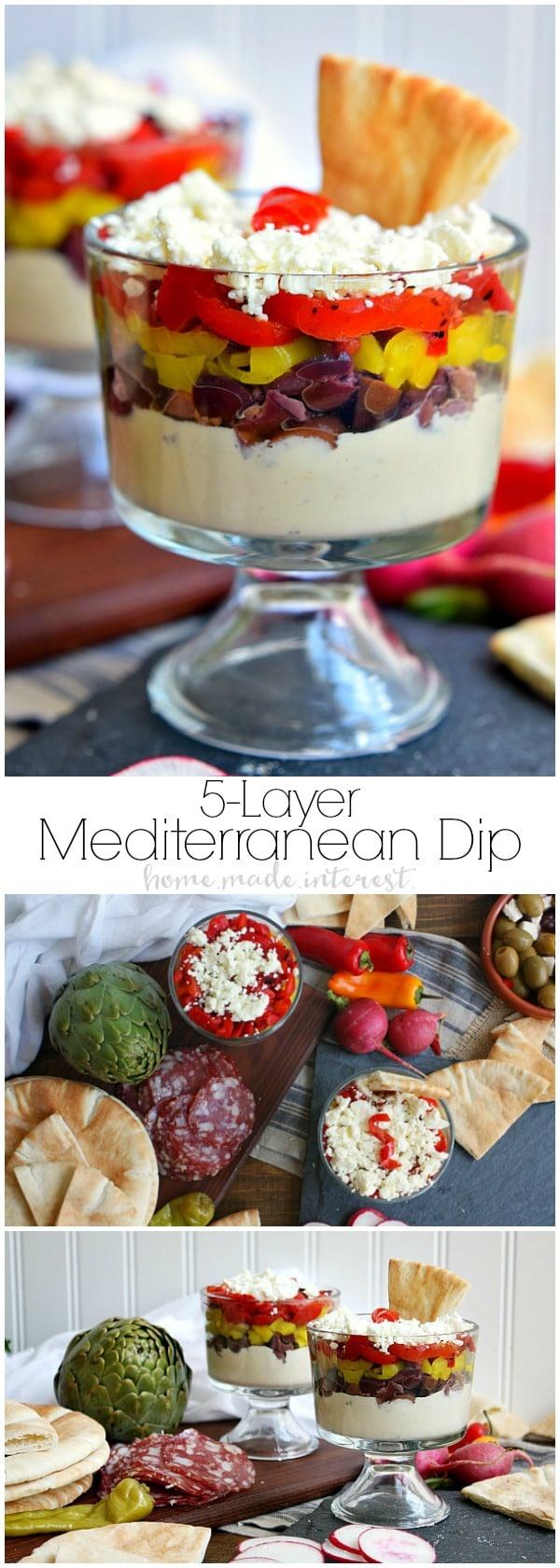 This simple mediterranean appetizer is a 5 layer Mediterranean Dip inspired by the traditional 7 layer taco dip. It is filled with layers of hummus, olives, Golden Greek Peperoncinis, roasted red peppers, and feta cheese. You can make this as a large bowl of dip or individual appetizers for your guests and serve them with pita bread. This easy appetizer is perfect for parties!