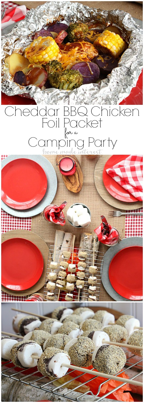 My family loves camping but we don't have as much time as we'd like to go camping out in the woods so I brought the campfire to us with this easy Camping Party plan. How to make a Faux campfire and individual foil packet meals that are the perfect camping food make this camping party something special for the whole family.