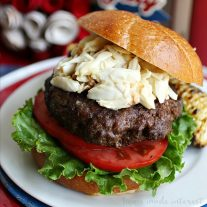 This decadent burger is grilled to perfection then topped with lump crab meat in a flavorful sauce. This is a burger recipe that is going to wow your guests at all of your summer parties! You can even make it as a quick weeknight recipe when you want to grill out but don't want to share!