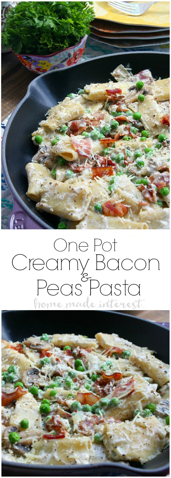 This easy One Pot Creamy Bacon and Peas takes less than 30 minutes to make! It is an easy dinner recipe that is perfect for summer when you want to spend time enjoying the sunshine and not slaving away over dinner!