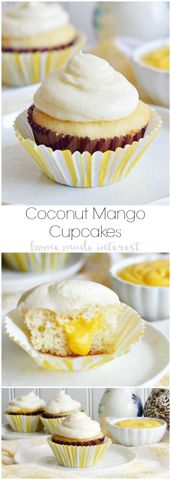 This coconut mango cupcake recipe is a tropical cupcake with a sweet coconut cake and filled with a tart mango curd. The homemade mango curd recipe is a perfect compliment to these cupcakes and also delicious as a thin mango filling in between layers of a cake.