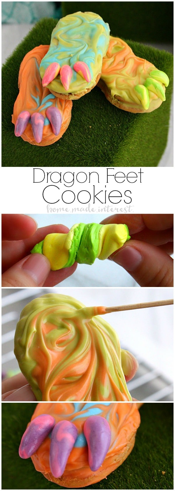 These fun and imaginative Dragon Feet Cookies are an easy dessert recipe for Halloween or a dragon birthday party. These dragon feet are made out of nutter butter cookies coated in multi colored candy melts. I made them for a Pete's Dragon party everyone loved them. I think they'd make awesome monster feet for a Halloween party!