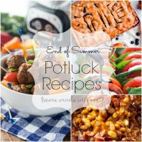 These easy potluck recipes are great for summer cookouts where you have to bring a potluck dish. Slow cooker recipes, sliders, summer sides, and of course desserts from slab pies to no bake desserts. These are great potluck recipes for Labor Day and all of your end of summer parties.