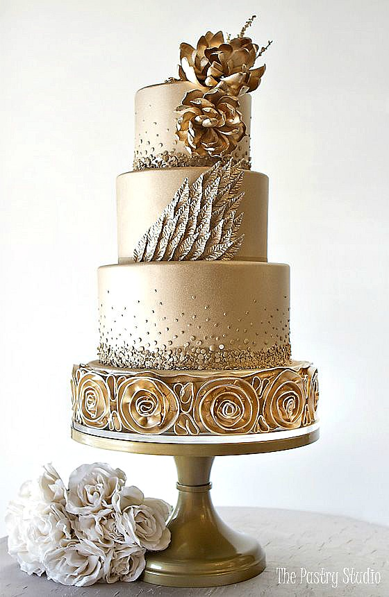 Gold Wedding Cake | Gold Leaf Wedding Cakes Home Made Interest