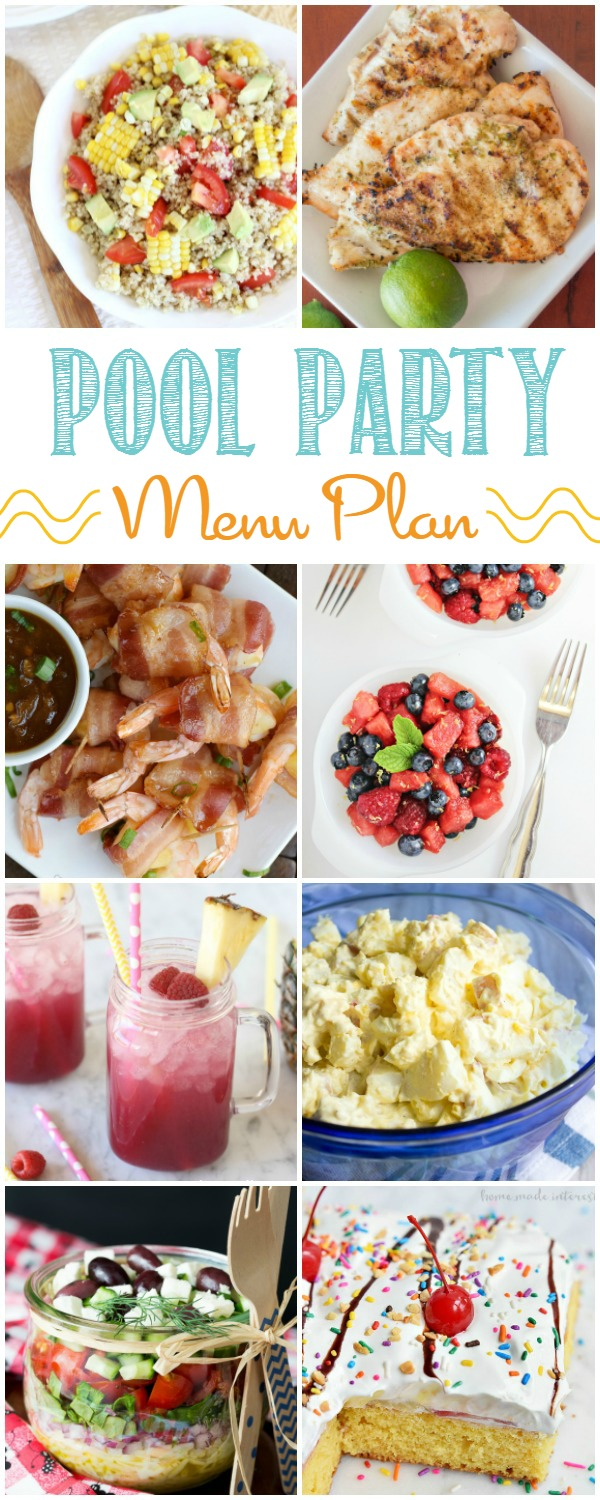 We've got all sorts of party recipes that are perfect for a summer pool party. This summer meal plan has appetizers, main dish, salad, side dish, drinks, and dessert recipes that will help you celebrate summer with a pool party that everyone will enjoy!