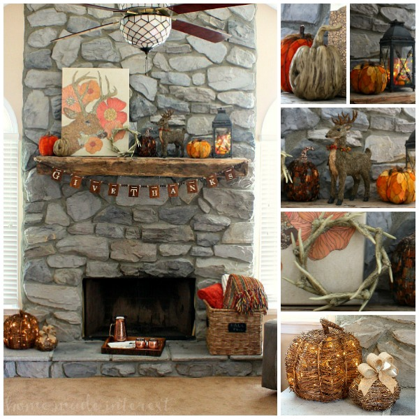 Get ready for fall by decorating your fall mantel. I love fall decor and I went rustic with deer and pumpkins in all shapes, sizes and textures. I love how my rustic mantel turned out and the rich, warm colors of fall sprinkled around my living room.