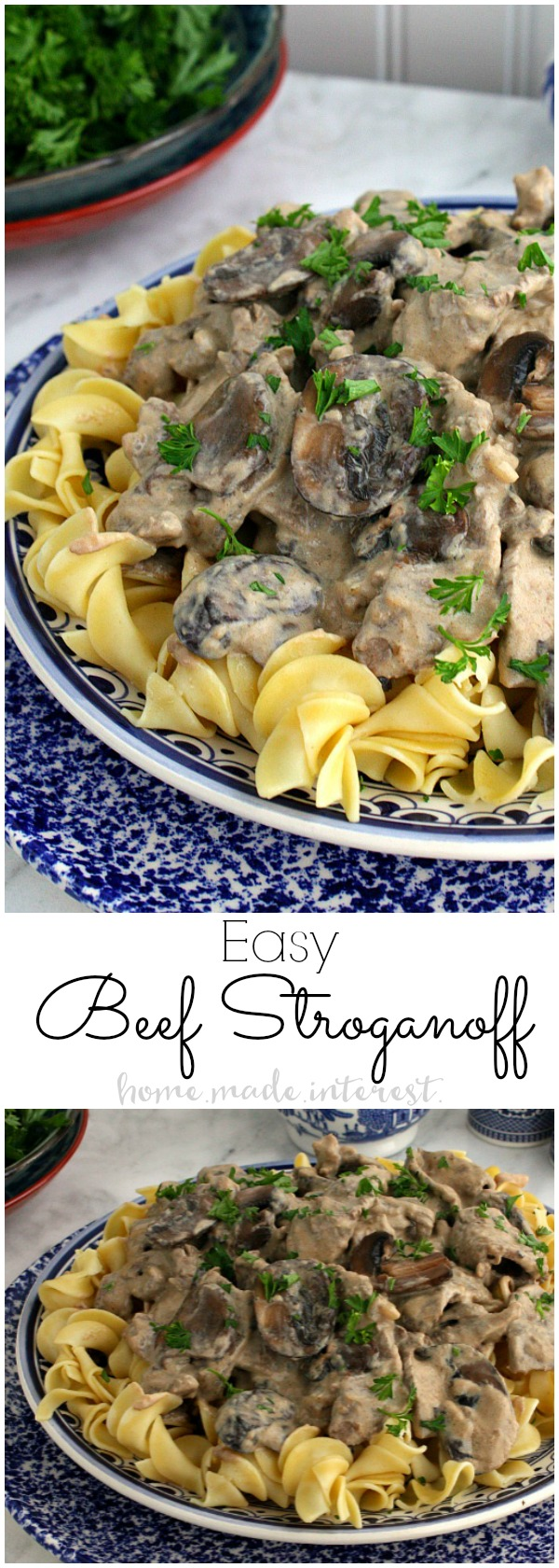 This creamy Beef Stroganoff recipe is a classic comfort food. This easy dinner recipe is quick to make with strips of beef cooked in a creamy sour cream sauce and served over rice or noodles. It's an easy weeknight recipe that kids and adults will love. Perfect back to school recipe!