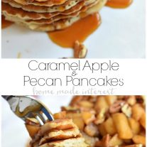 These delicious Caramel Apple Pecan Pancakes are light and fluffy pancakes topped with a creamy caramel sauce, baked apples, and crunchy pecans. It is an amazing fall breakfast recipe.