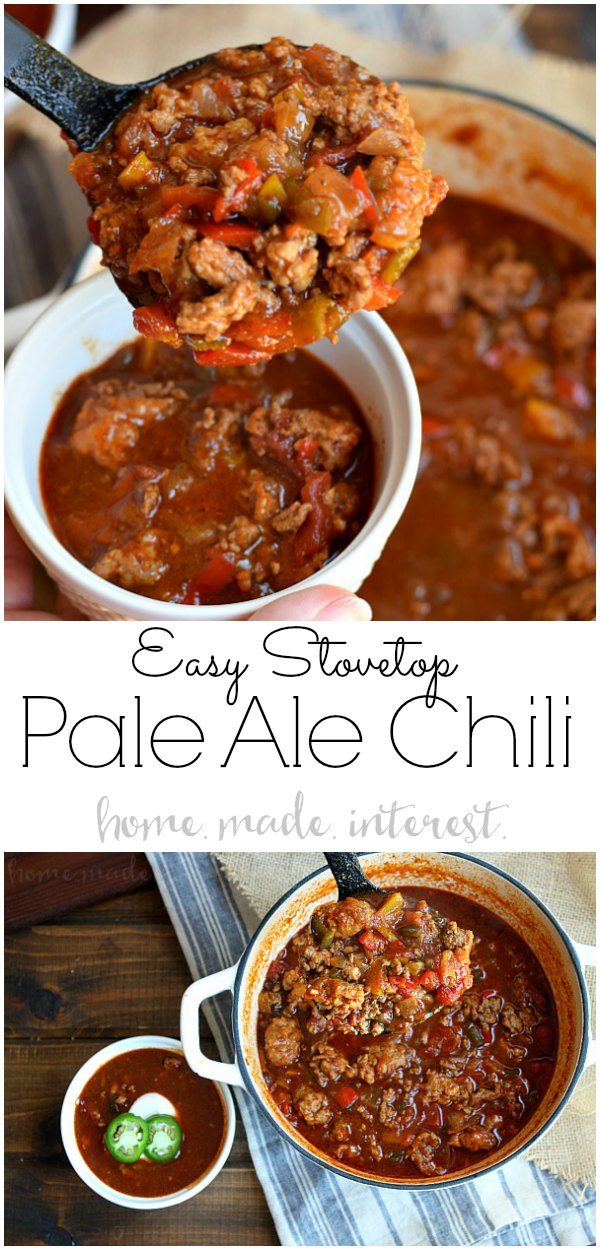 Pale Ale Chili | Easy chili recipe made with Pale Ale beer. Not made in the crock pot but on the stove top it is perfect for your game day party this football season. Chili made with beer is packed full of flavor. #chili #beer #gamedayfood #gameday #homemadeinterest