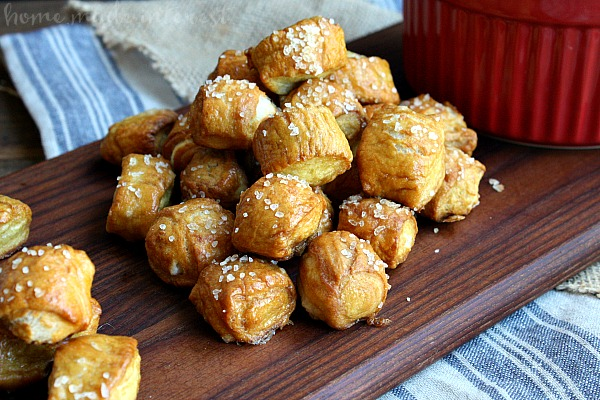 These pretzel bites are made with homemade pretzel dough. They are the perfect game day snack served with a delicious cheese dip. Make this easy pretzel recipe for the kids for an after school snack.
