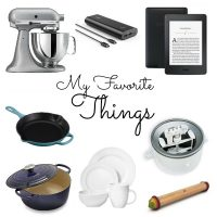 For my birthday I thought I'd share a few of my favorite things with you. From cast iron french ovens and cast iron skillets, to Kitchen Aid Stand mixers and the best Kitchen Aid stand mixer attachments, to Kindle and Audible and my favorite ebooks. This is a list of things that I love. Find the perfect gift idea for a friend or buy yourself something special!