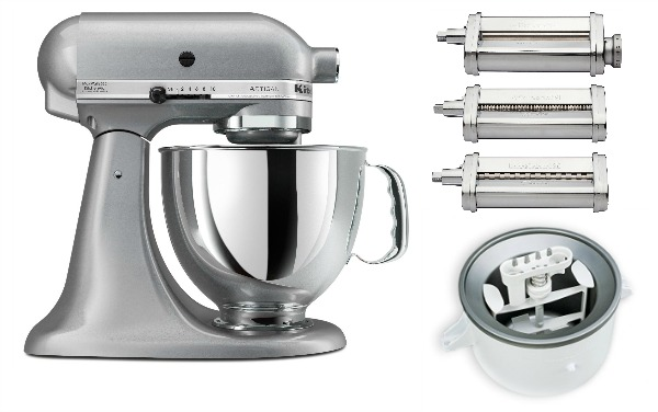 Kitchen Aid stand mixer and some of my favorite attachments the Kitchen Aid Ice Cream Maker and Kitchen Aid Pasta Maker