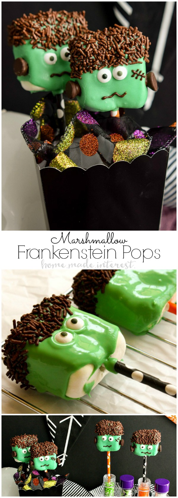 Frankenstein Marshmallow Pops | If you're looking for Halloween party food ideas these easy Frankenstein Marshmallow Pops are a fun Halloween dessert recipe that is perfect for kids and adults.