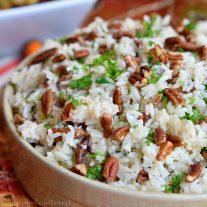 Pecan rice pilaf in bowl