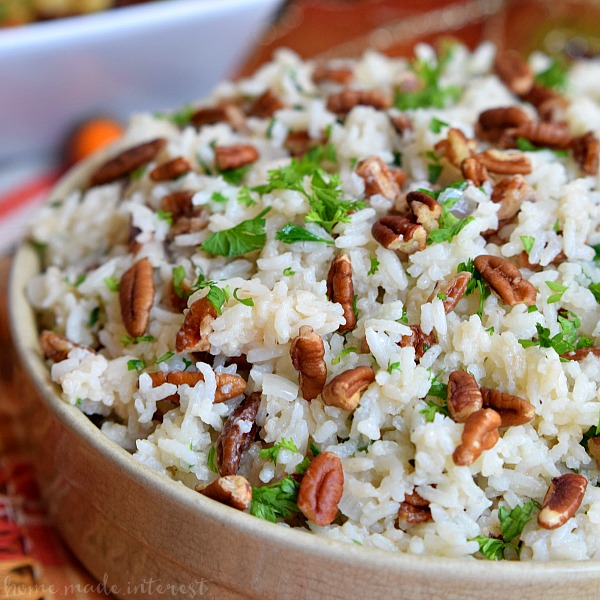 Pecan rice pilaf in bowl