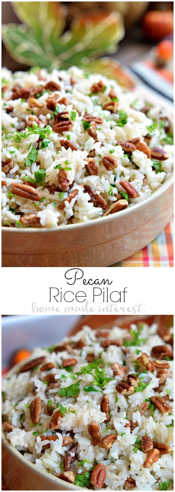 This Pecan Rice Pilaf recipe is an easy Thanksgiving side dish made with flavorful rice and buttery toasted pecans. A simple rice pilaf recipe for fall. This is an easy side dish for busy weeknights or a simple addition to Thanksgiving dinner.
