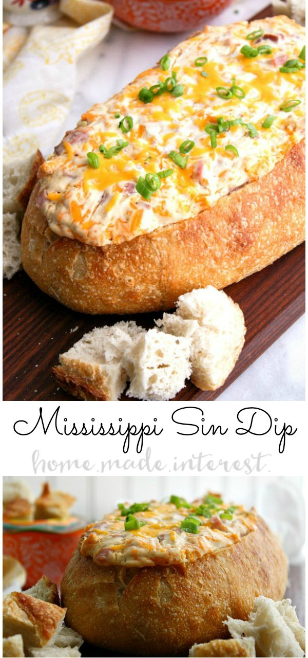This decadent Mississippi Sin dip is an easy appetizer made with cheese and ham mixed together and baked inside a loaf of French bread until it is ooey gooey. It's an awesome football party food idea and it's perfect for March Madness. Make this easy hot dip for all of your parties! #partyfood #gamedayfood #gameday #cheese #dip #ham #homemadeinterest #appetizer