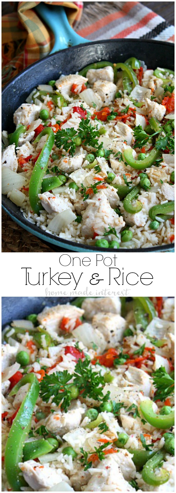 Need a Thanksgiving leftovers recipe? Or just a quick and easy weeknight dinner recipe? This One Pot Turkey and Rice is ready in less than 30 minutes and filled with everything you need for a complete meal, meat, vegetables, and rice! Your family will love this easy one pot meal.