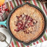 Cranberry buckle baked in a cast iron skillet