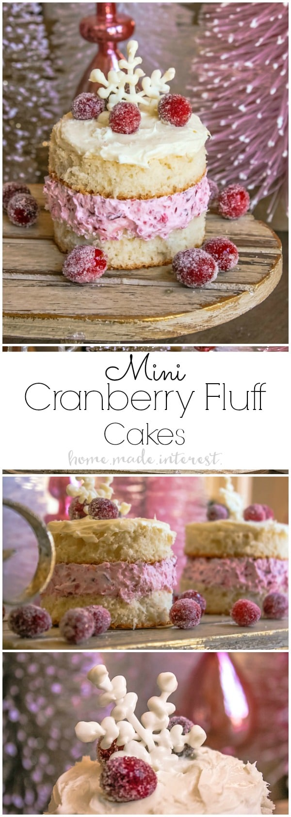 These pretty Mini Cranberry Fluff Cakes are perfect for Thanksgiving dessert or Christmas dessert. The cranberry fluff recipe is one of my favorites and it is even better sandwiched between two slices of cake and topped with white frosting!