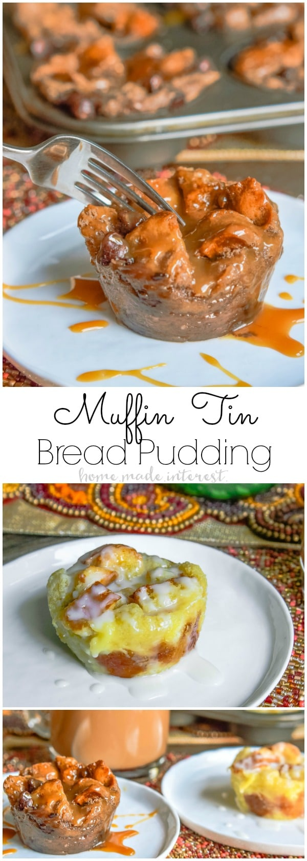 This muffin tin bread pudding is an easy bread pudding recipe that makes individual servings! These are perfect for Thanksgiving dessert or Christmas dessert because you can make multiple flavors in one muffin tin. I've made two of my favorite flavors Sugar Cookie Bread Pudding and Caramel Mocha Bread Pudding. Both are amazing!
