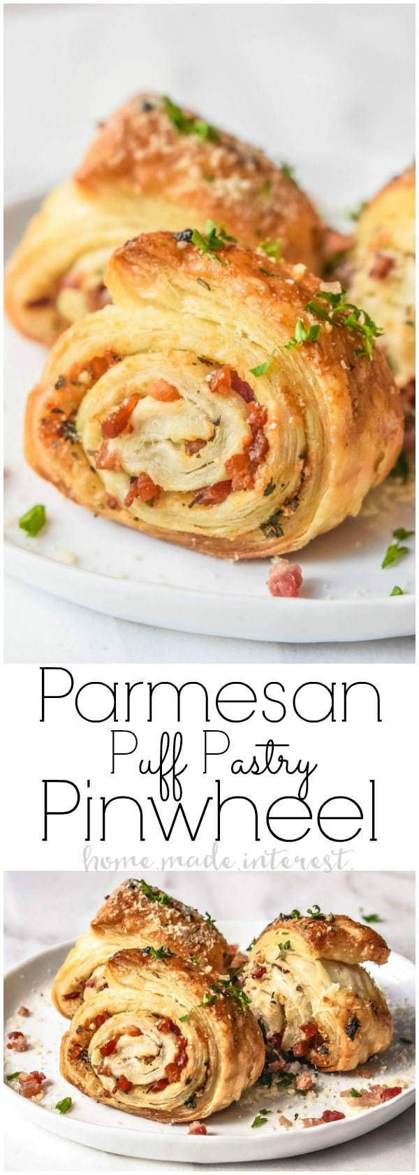 Parmesan Puff Pastry Pinwheel | This easy appetizer recipe makes a great New Year's Eve appetizer or an elegant appetizer for parties. A puff pastry pinwheel filled with parmesan cheese and crisp cooked pancetta.