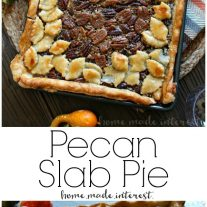 This beautiful pecan slab pie recipe takes a traditional pecan pie recipe and doubles it, making one big slab pie that the whole family will enjoy. Make this pecan slab pie for Thanksgiving dessert or Christmas dessert. This pecan slab pie is extra pretty with a crust made with pie dough cut into fall leaves. Impress your guests with this easy pecan pie recipe!