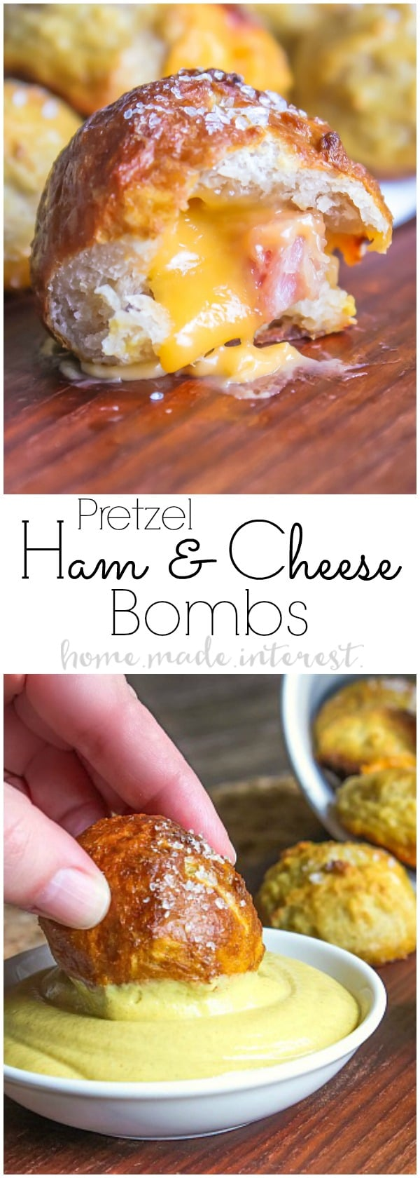 These ham and cheese pretzel bombs are pretzel dough stuffed with cheese and delicious ham. They are an easy appetizer recipe that is a great way to use leftover ham. Ham and cheese pretzel bombs are an easy game day appetizer that are exploding with cheesy goodness!