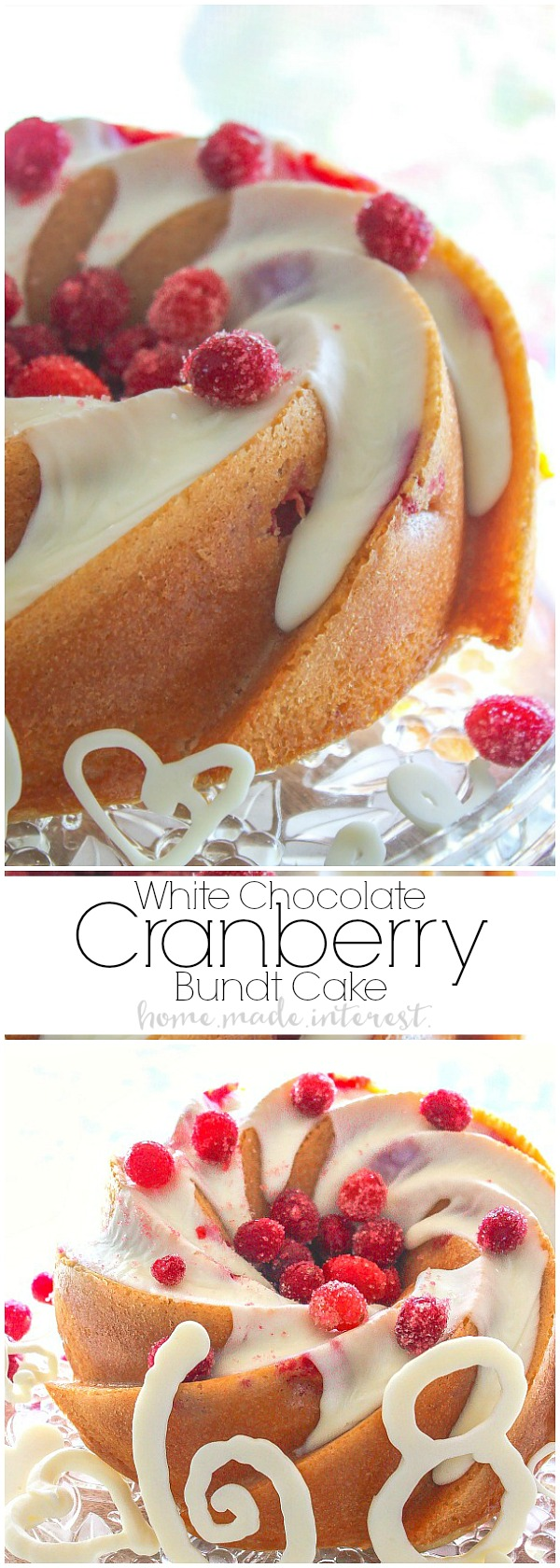 A white chocolate cranberry cake made in a gorgeous heritage bundt pan. This white chocolate cranberry cake is a quick and easy cake recipe made from boxed cake mix. Add in a few extra ingredients and you have a super moist and delicious cake!