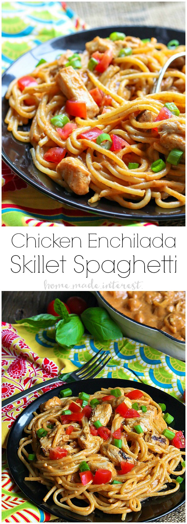 Chicken Enchilada Skillet Spaghetti | If you're looking for an easy skillet meal this Chicken Enchilada Skillet Spaghetti is what you need! It's an easy weeknight dinner recipe that kids and adults will love. Creamy enchilada sauce coating delicious chicken and spaghetti noodles topped with some of your favorite enchilada toppings. It's a chicken enchilada recipe and a spaghetti recipe all in one!