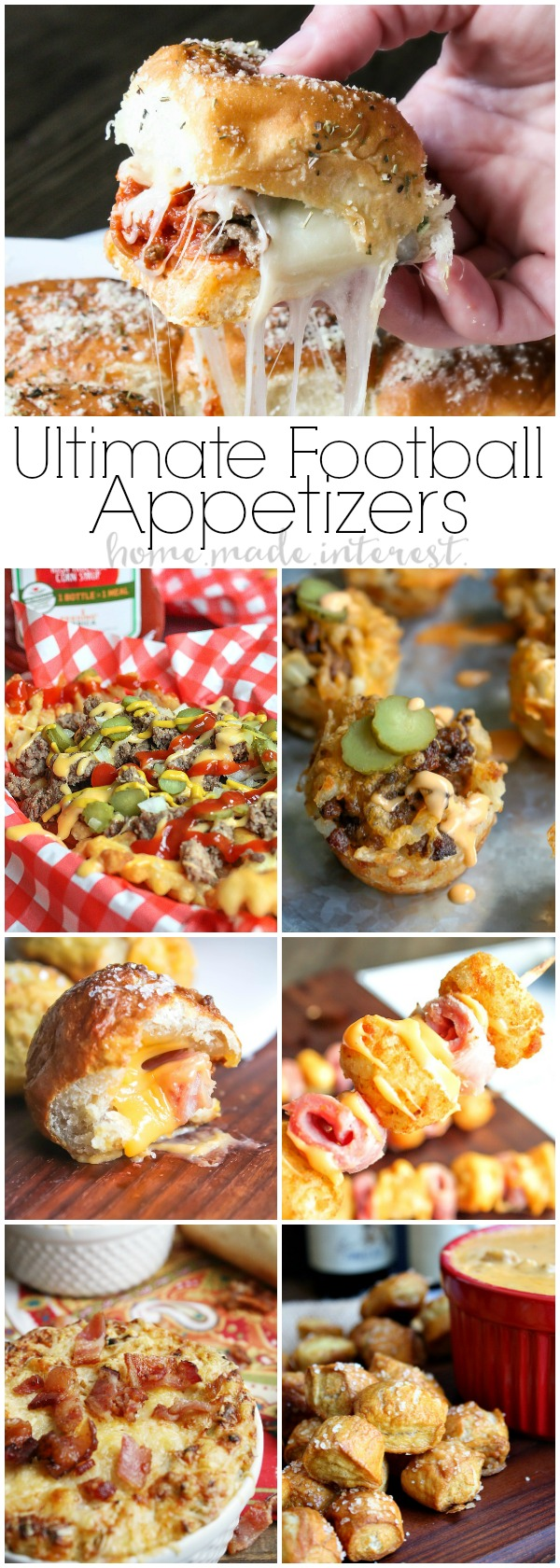 Easy Football Party Appetizers | Get ready for game day with these awesome easy football party appetizers. Whether you need some super bowl party recipes or you are just hosting a football party during the regular season you are going to need amazing appetizer recipes like easy slider recipes, tater tot appetizers, cheesy dip recipes. Host a great game day party with these easy game day appetizers!
