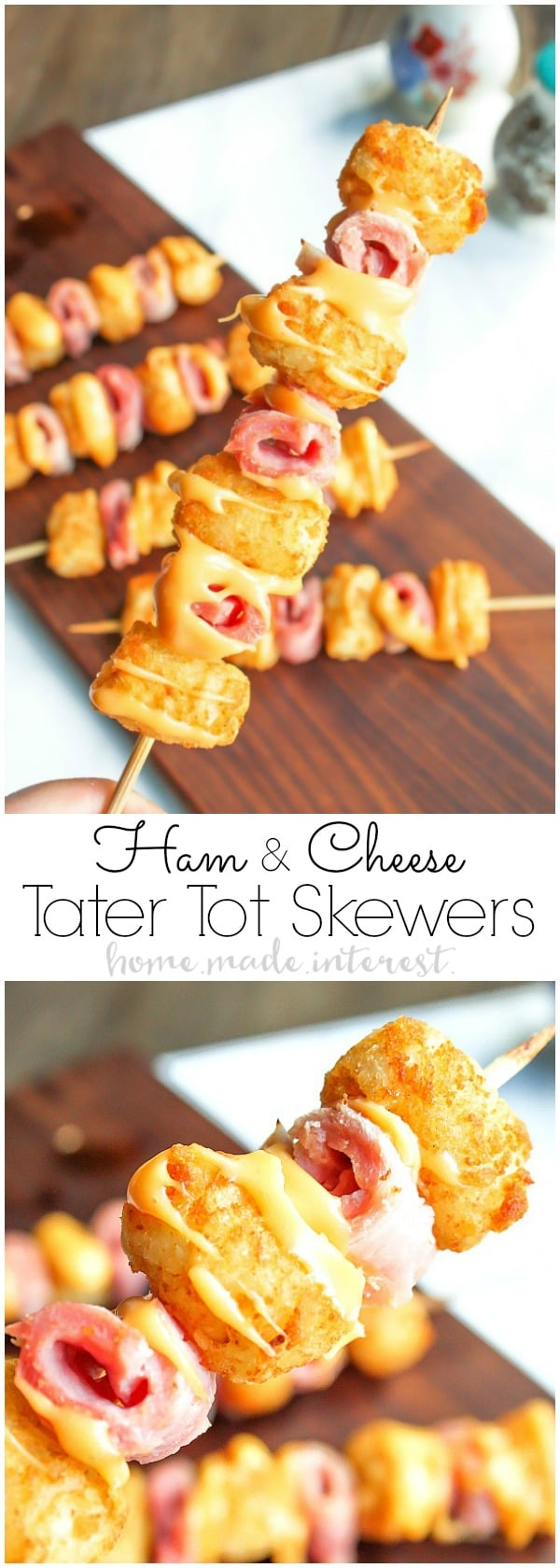 Ham and Cheese Tater Tot Skewers   If you are looking for a simple but totally awesome Game Day appetizer this game day recipe is it. Ham and Cheese Tater Tot Skewers are an easy appetizer recipe with layers of ham and tater tots skewered together and drizzled with creamy american cheese. This is going to be perfect food for your next super bowl party or football party!