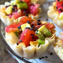 Tuna and Avocado Sushi ingredients in a small phyllo cup