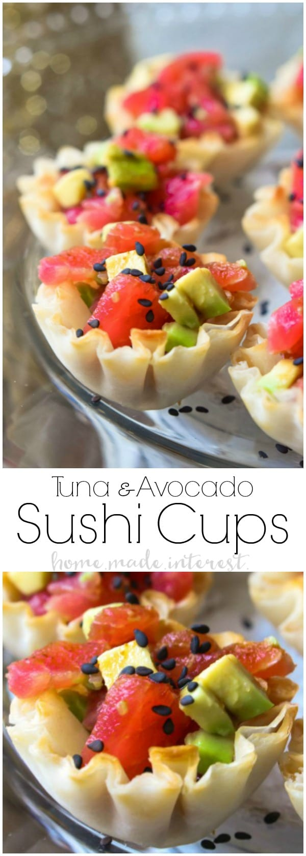 Tuna Avocado Sushi Cups | This is an easy appetizer recipe that is perfect for a dinner party or cocktail party. Enjoy these Tuna Avocado Sushi Cups as a New Year's Eve appetizer. It is a sushi appetizer that anyone can make! #newyear #sushi #feedfeed #appetizer