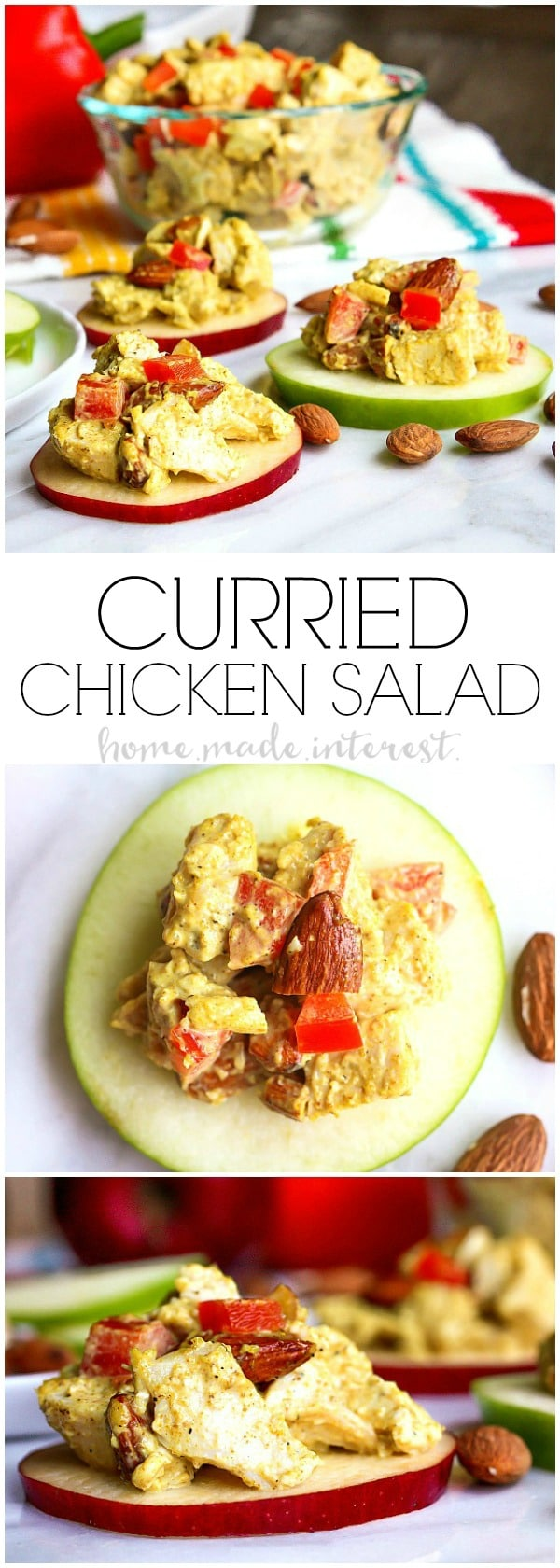 Curried Chicken Salad | This quick and easy curried chicken salad is full of flavor. We've got a recipe for your own simple curry, a mix of fragrant spices that liven up any dish and the almonds added to the chicken salad give it a little extra crunch. This is a great low carb lunch, low carb dinner, or low carb snack recipe. Give boring old chicken salad a little something extra with this healthy chicken salad recipe.