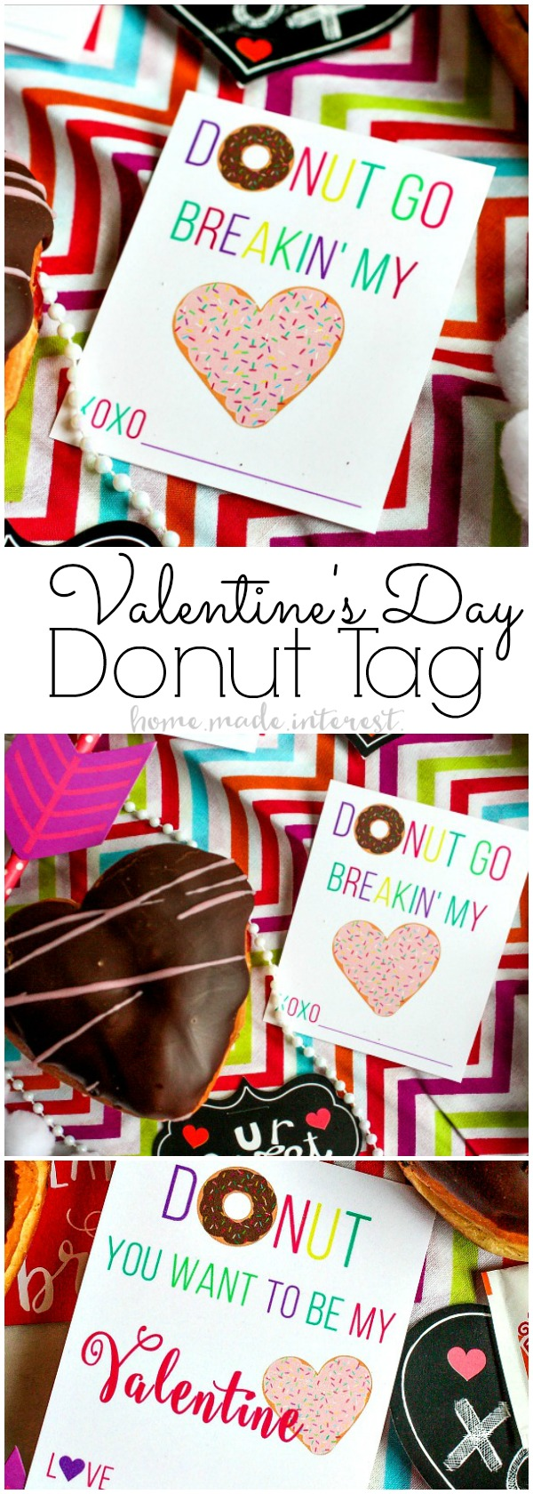 Easy Valentine's Day Donut Cards | Donuts for Valentine's Day the perfect Valentine's Day treat! Make these easy Valentine's Day favors for your sweetie or your kids' classroom Valentine's Day favor. This free printable donut valentine's day cards are just as sweet as a dozen donuts!