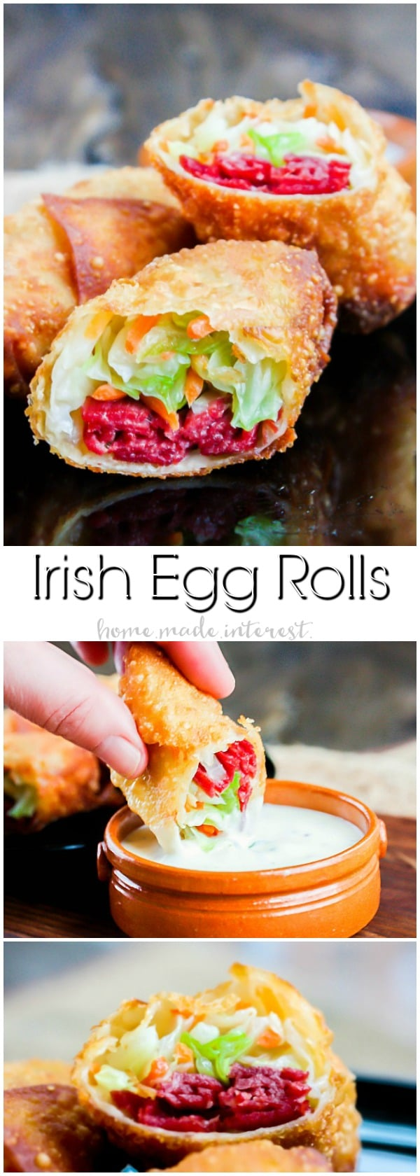Corned Beef and Cabbage Egg Rolls | Corned beef and cabbage is a classic St. Patrick's Day recipe. We've turned this Irish recipe into an awesome St. Patrick's Day appetizer. Corned Beef and Cabbage Egg Rolls are all of the classic corned beef and cabbage flavors wrapped up in a crunchy egg rolls and dipped in a creamy parsley sauce. This is an easy St. Patrick's Day appetizer recipe you don't want to miss.