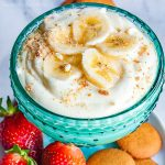 Banana Cream Cheesecake Dip | If you like banana pudding you're going to love this no bake banana cream cheesecake dip! It is an easy no bake dip recipe that combines, pudding, bananas, cream cheese, and whipped cream to make a rich and delicious dessert dip recipe that taste just like banana pudding when you eat it on a vanilla wafer! This banana cream cheesecake dip will make a perfect Easter dessert or summer dessert recipe for cookouts!