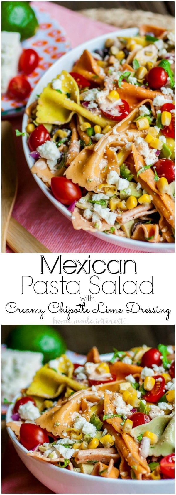 Mexican Pasta Salad | Mutli-colored pasta and bold southwest flavors make this easy Mexican Pasta Salad an awesome pasta salad recipe for Cinco de Mayo. If you're looking for Cinco de Mayo recipes you can make ahead of time and serve at your Cinco de Mayo party this beautiful southwest pasta salad is it! It makes a delicious summer side dish for summer BBQs and picnics.