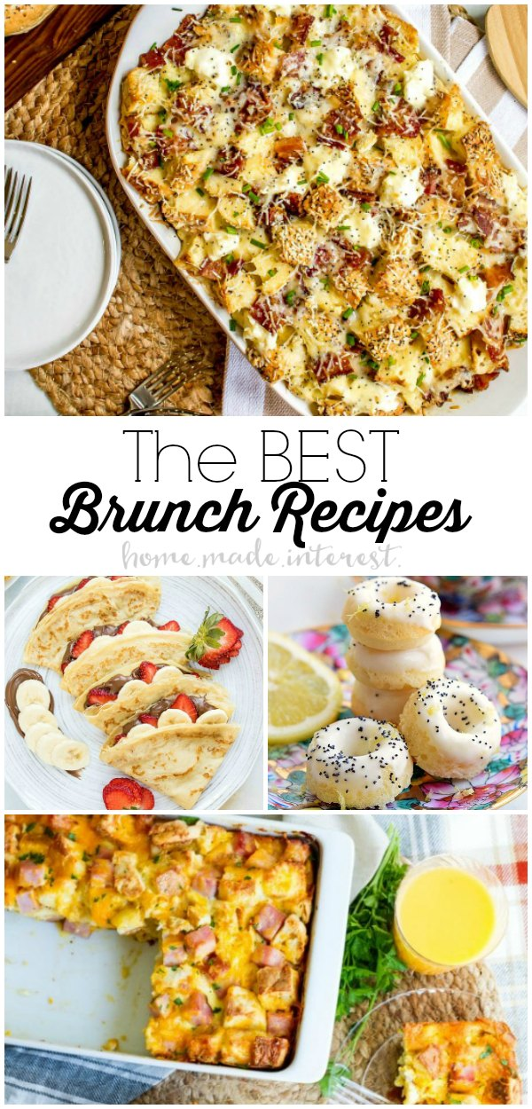 We've got the Best Brunch Recipes to impress your guests. Make your next brunch a hit with easy brunch recipes from make ahead breakfast casseroles to homemade pastries.  Easter brunch recipe, Mother's Day brunch recipes, we've got your covered. These easy brunch recipes will save you time and impress your friends and family! #brunch #breakfast #easter #mothersday
