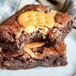 RITZ Peanut Butter Brownies   This sweet and salty dessert recipe is super easy to make and so good! This brownie recipe uses peanut butter and RITZ crackers to make a sweet and salty brownie recipe that everyone in my house loves. If your kids love peanut butter and crackers they're going to love these peanut butter brownies with RITZ crackers!