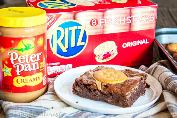 RITZ Peanut Butter Brownies | This sweet and salty dessert recipe is super easy to make and so good! This brownie recipe uses peanut butter and RITZ crackers to make a sweet and salty brownie recipe that everyone in my house loves. If your kids love peanut butter and crackers they're going to love these peanut butter brownies with RITZ crackers!