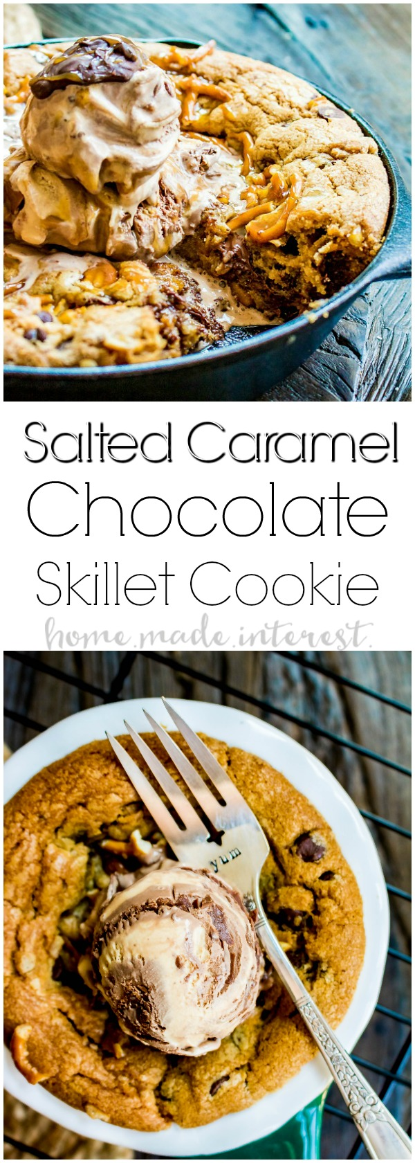 Salted Caramel Chocolate Skillet Cookie | This skillet cookie recipe is a chocolate chip cookie filled with rich creamy caramel, white chocolate chips, and salty, crunchy pretzels. It's baked in a cast iron skillet until everything melts together into a decadent cookie dessert topped with a couple of scoops of ice cream. This cast iron skillet dessert is an easy dessert recipe that the whole family will love.