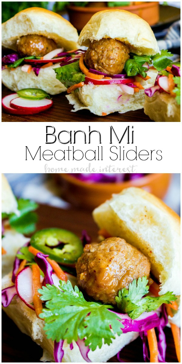 Banh Mi Meatball Sliders | These easy sliders are going make a great summer BBQ recipe or summer picnic recipe. You can make these Banh Mi Meatball Sliders in just 30 minutes! The vegetables are cool, crisp, and lightly pickled for a bright flavor that everyone is going to love. Impress your friends and family with this easy summer appetizer, summer recipe, and quick and easy dinner recipe. If you love slider recipes you're going to love these Banh Mi Sliders.