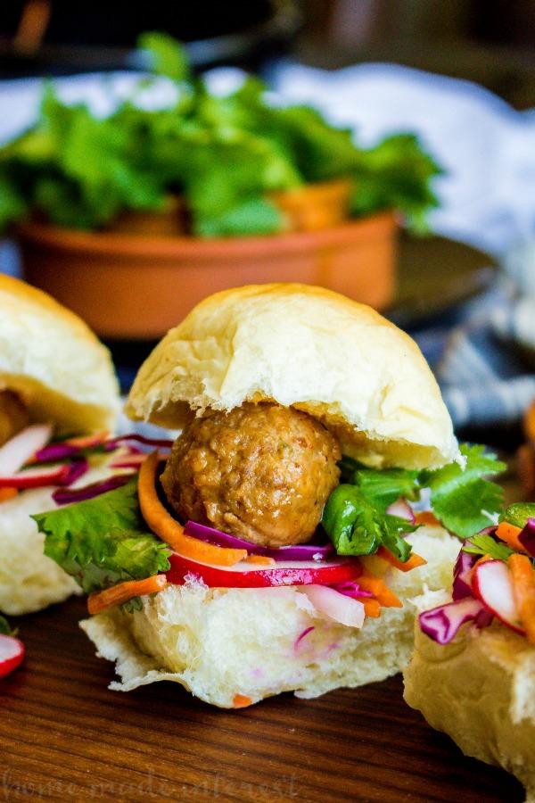 Banh Mi Meatball Sliders meatball on slider bun.