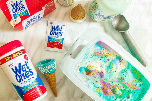 No Churn Mermaid Ice Cream | This easy homemade ice cream recipe is a no churn ice cream that looks just like a mermaid! This no churn mermaid ice cream is perfect for summer pool parties, or mermaid parties. Sprinkle homemade no churn ice cream with sprinkles and swirls of color and you have an easy no churn ice cream that every kid will want.